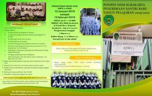 Penerimaan Santri Baru Ponpes NDM Surakarta TP 2019/2020